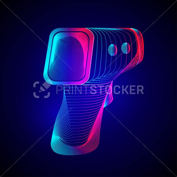 Digital non-contact infrared thermometer. Outline vector illustration of electronic temperature gun in 3d line art style on neon abstract background - PrintStocker.com