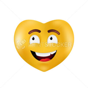 Emotional heart shape. Basic geometrical figure with smiling facial expression. Vector illustration of a yellow emoticon isolated on a white background - PrintStocker.com