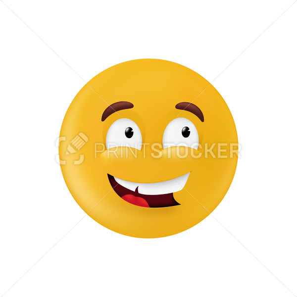 Emotional round shape. Basic geometrical figure with smiling facial expression. Vector illustration of a yellow emoticon isolated on a white background - PrintStocker.com