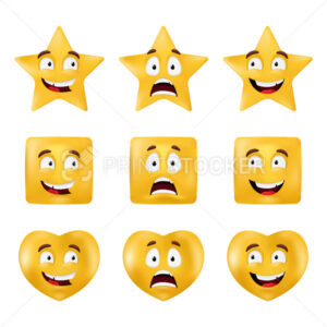Emotional shapes – square, star, circle, heart. Basic geometrical figures with different facial expressions. Vector set of emoticons isolated on a white background - PrintStocker.com