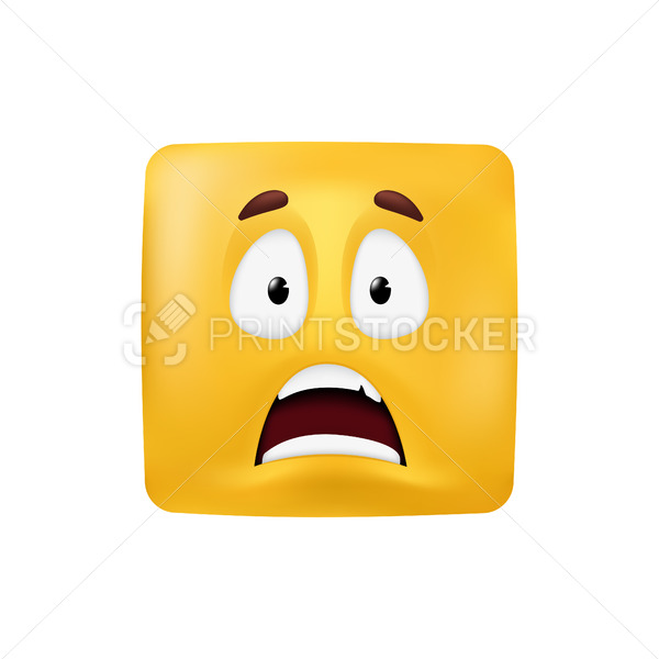 Emotional square shape. Basic geometrical figure with scared facial expression. Vector illustration of a yellow emoticon isolated on a white background - PrintStocker.com