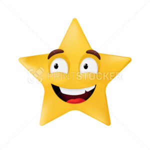 Emotional star shape. Basic geometrical figure with smiling facial expression. Vector illustration of a yellow emoticon isolated on a white background - PrintStocker.com