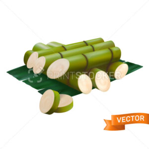 Fresh sugar cane cut with green chunks, sliced and stacked on top of each other. Vector illustration in a 3D mesh realistic style isolated on a white background - PrintStocker.com