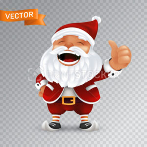 Funny cartoon little Santa Claus mascot without eyeglasses in a red hat with thumbs up. Vector illustration of laughing character with white beard isolated on a transparent background - PrintStocker.com
