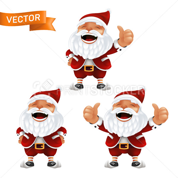 Funny cartoon set of the little Santa Claus mascots without eyeglasses in a red hat with thumbs up. Vector illustration of laughing characters with white beard isolated on a white background - PrintStocker.com