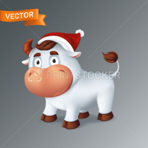 Funny silver Ox animal in red Santa's hat. Symbol of the year in the Chinese zodiac calendar. 3d cartoon vector illustration of the white smiling bull isolated on a grey background - PrintStocker.com
