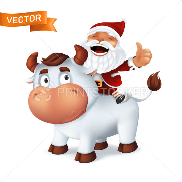 Funny silver Ox animal symbol of the year in the Chinese zodiac calendar with Santa Claus on his back. Cartoon vector illustration of smiling bull and laughing character isolated on white background - PrintStocker.com
