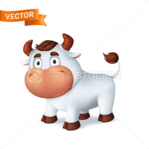 Funny silver Ox animal symbol of the year in the Chinese zodiac calendar. 3d cartoon vector illustration of the smiling bull isolated on a white background - PrintStocker.com
