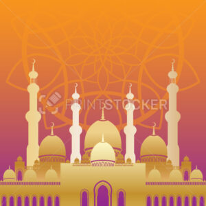 Golden mosque in flat style on colorful background for islamic Eid al-Fitr celebration. - PrintStocker.com