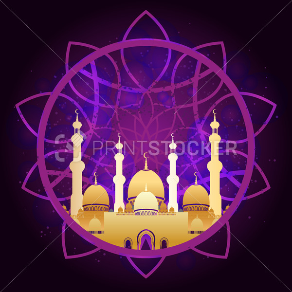 Golden mosque on colorful background for islamic Eid al-Fitr celebration. Can be used for design your website or publications and other. - PrintStocker.com