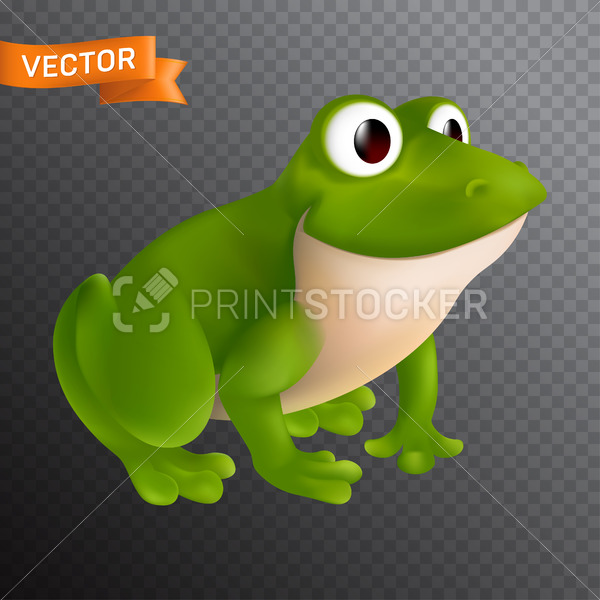Green cartoon frog character with big eyes sitting and smiling. Vector illustration isolated on a transparent background - PrintStocker.com