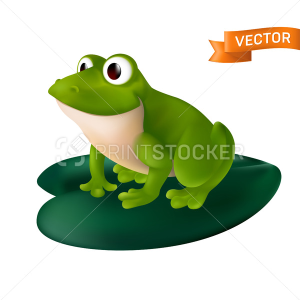 Green cartoon frog with big eyes sitting on a green water Lily leaf. Vector illustration isolated on a white background - PrintStocker.com