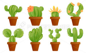 Green mexican cactus plant or cacti succulent in garden pots different set vector illustration of houseplant isolated on white background Perfect to use in web graphic or advertising print design - PrintStocker.com