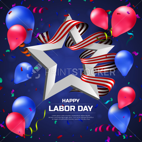 Greeting card or banner to Happy Labor Day with balloons, white star and striped ribbon - PrintStocker.com