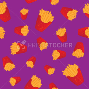 Hand drawn french fries fast food seamless pattern - PrintStocker.com