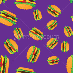 Hand drawn hamburgers fast food seamless pattern. - PrintStocker.com
