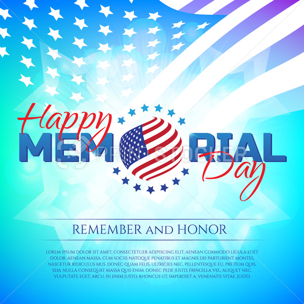Happy Memorial Day greeting card with national flag colors and stars on colorful background. Remember and honor. - PrintStocker.com