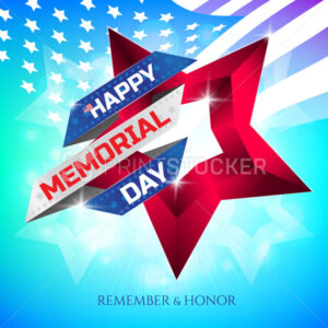 Happy Memorial Day greeting card with national flag colors ribbon and red star on colorful background. Remember and honor. - PrintStocker.com