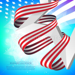 Happy Memorial Day greeting card with national flag colors ribbon and white star on colorful background. Remember and honor. - PrintStocker.com