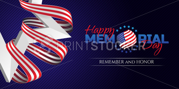 Happy Memorial Day greeting card with national flag colors ribbon and white star on dark background. Remember and honor. - PrintStocker.com
