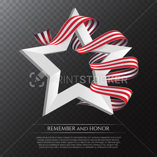Happy Memorial Day greeting card with national flag colors ribbon and white star on transparent background. Remember and honor. - PrintStocker.com