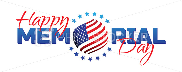 Happy Memorial Day sign with national flag colors isolated on white background. Remember and honor. - PrintStocker.com