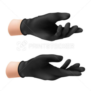 Human hand in a black nitrile protective glove. Vector illustration of a rubber product to protect the skin from various viruses, microbes and bacteria isolated on white background - PrintStocker.com