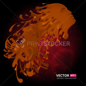 Liquid coffee with facial features of woman. Vector illustration - PrintStocker.com