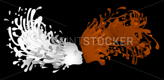 Liquid kiss of milk and coffee with facial features  woman - PrintStocker.com