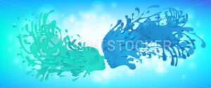 Liquid kiss of splashes with facial features woman and men. - PrintStocker.com