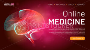 Online medicine landing page template or medical hero banner design concept. Human brain outline organ vector illustration in 3d line art style on abstract background - PrintStocker.com