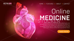 Online medicine landing page template or medical hero banner design concept. Human heart outline organ vector illustration in 3d line art style on abstract background - PrintStocker.com