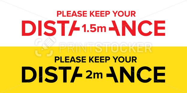 Please keep your distance in 1.5 or 2 meters warning sign. Vector illustration of information precaution banner or social distancing signage isolated on white background - PrintStocker.com
