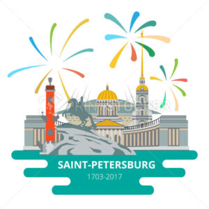 Saint-Petersburg flat cityscape to the day of the city. - PrintStocker.com