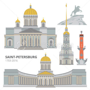 Saint-Petersburg flat cityscape. Vector set for travel infographics. Use this vector illustration for design your website or publications. - PrintStocker.com