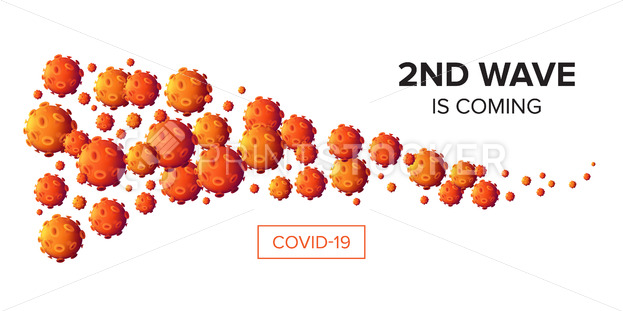 Second wave is coming – COVID-19 attack or infection spread horizontal banner design concept. 3d realistic vector illustration of a microscopic view of various viral cells isolated on white background - PrintStocker.com