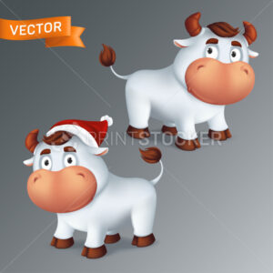 Set of funny silver Ox animals in red Santa's hat. Symbol of the year in the Chinese zodiac calendar. 3d cartoon vector illustration of two white smiling bulls isolated on a grey background - PrintStocker.com