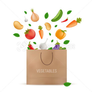 Shopping paper bag with fresh vegetables falling into it – potato, carrot, cucumber, onion, pepper, tomato, aubergine, eggplant, garlic. Vegetarian or vegan organic food. Vector illustration on white - PrintStocker.com