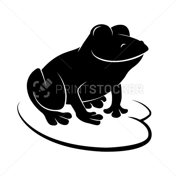 Smiling frog sitting on a Lily leaf. Black silhouette logo or icon. Vector illustration isolated on a white background - PrintStocker.com