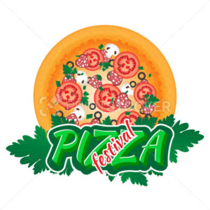 Vector Emblem to the Pizza Festival. Use this vector illustration for design your website or publications. - PrintStocker.com