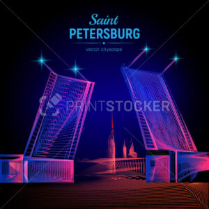 Vector Saint Petersburg night view from the Neva river Palace bridge of the Peter and Paul Fortress with abstract 3d geometry lines and gradient waves art Russia landmark symbols on dark background - PrintStocker.com