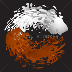 Vector Symbol of yin and yang. Clash of liquid milk and chocolate with facial features of woman and men. Can be used as a banner, leaflet, greeting card, invitation, flyer and other print publications. - PrintStocker.com