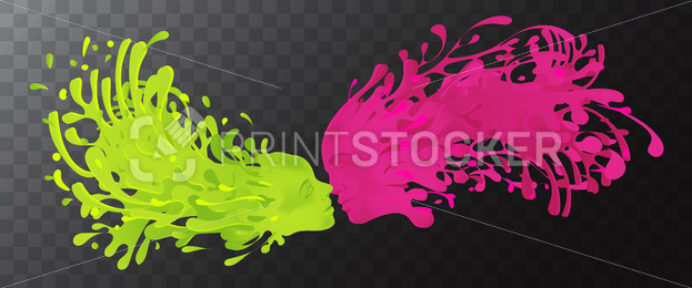 Vector Symbol of yin and yang. Clash of liquid splashes with facial features of woman and men isolated on transparent background. Can be used as a banner, greeting card, flyer and other publications. - PrintStocker.com