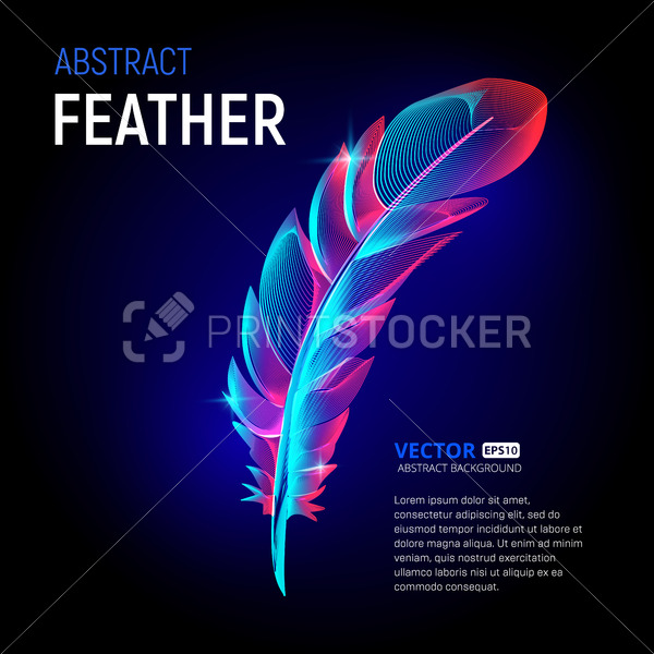 Vector colorful feather or fluffy plumelet with abstract 3d shapes geometry lines texture and outline gradient waves vintage modern trendy art graphic design illustration on dark background - PrintStocker.com