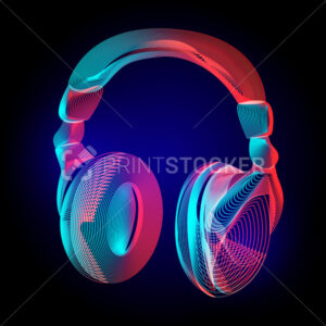 Vector colorful headphones or music sound earphones silhouette with abstract geometry lines texture and outline gradient waves vintage modern trendy art graphic design illustration on dark background - PrintStocker.com