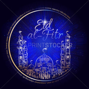 Vector hand drawn golden mosque on blue background for islamic Eid al-Fitr celebration. - PrintStocker.com