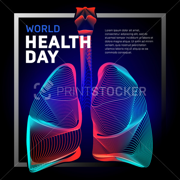 Vector human bronchi lungs anatomy structure with abstract 3d geometry lines and gradient waves art to asthma world tuberculosis health day or medicine respiratory system organ on dark background - PrintStocker.com