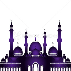 Vector illustration of mosque in flat style isolated on white background for islamic Eid al-Fitr celebration. - PrintStocker.com