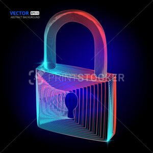 Vector locked padlock cyber security protect with keyhole in abstract 3d geometry lines style and gradient waves texture shapes or wireframe technology concept 3d art design on dark background - PrintStocker.com