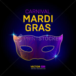 Vector mardi gras carnival venetian mask silhouette contour with abstract 3d geometry lines texture and outline gradient waves vintage modern trendy graphic design illustration on dark background - PrintStocker.com
